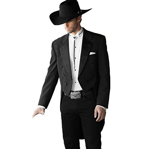MYS Herren studiato per classico matrimonio Notch coda Cappotto Tuta Pantalone cravatta Set Nero
