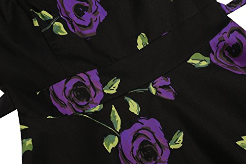 Dress Purple ACEVOG Spring Floral Sleeveless Rose Garden Vintage Women's Party 1950's Picnic vqzrv1