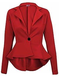 Crazy Girls Women's Fitted Dip Hem Peplum Style Blazer