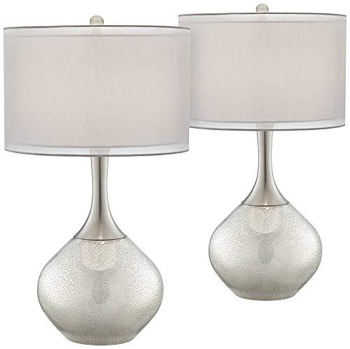 Swift Modern Table Lamps Set of 2 Mercury Glass Chrome Twin Sheer Drum Shade for Living Room Family Bedroom Bedside - Possini Euro Design