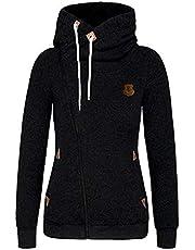 Seamido Women Side Zipper Casaul Hoodies Long Sleeve Warm Sweatshirt