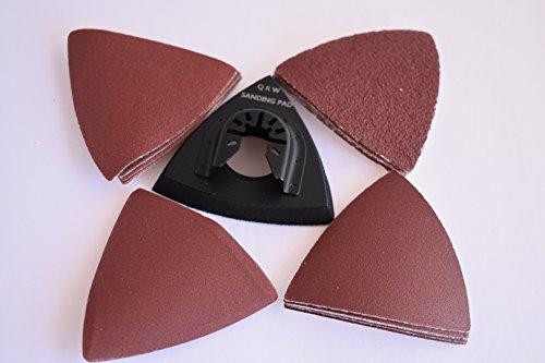 Combo Value Pack - 3 inch Triangular Velcro sanding pad with QUICK RELEASE Universal Arbor PLUS 20 count sanding paper kit for Dewalt, Fein, Bosch, etc Oscillating Multi Tools ()