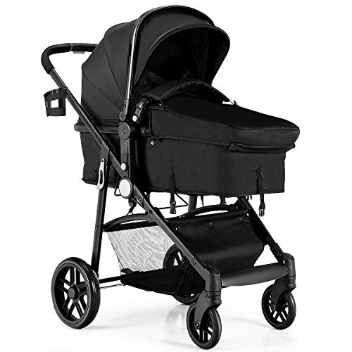 - BABY JOY Baby Stroller, 2 in 1 Convertible Carriage Bassinet to Stroller, Pushchair with Foot Cover, Cup Holder, Large Storage Space, Wheels Suspension, 5-Point Harness, Deluxe Black