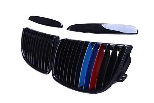 Gloss Black M-Color Front Hood Kidney Grille Grill Grilles For BMW E90 323i 325xi 330i 328i 328xi 335i 335xi Pre-Facelift