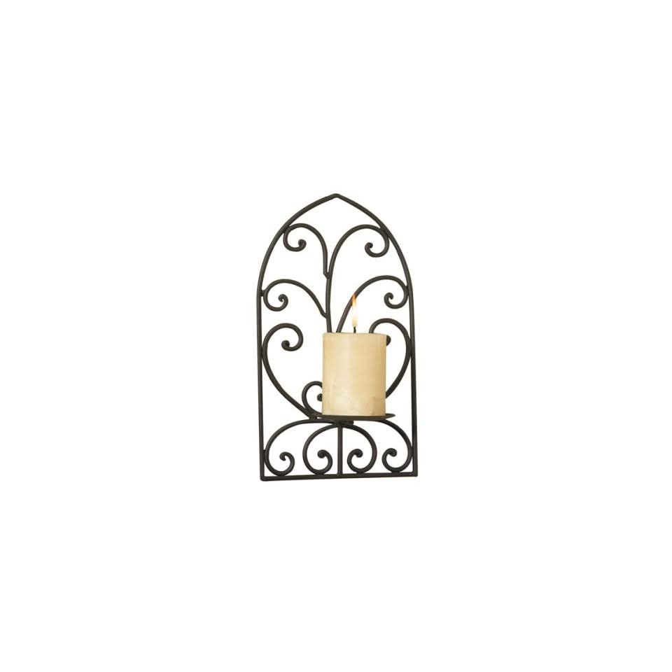 Luca Bella Home Cathedral Scroll Wrought Iron Wall Sconce.
