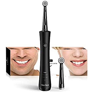 Rotary Electric Toothbrush for Adults, Rechargeable Toothbrush with Smart Timer and Strong Battery Endurance, Powered Spin Toothbrush with 2 Round Heads, 3 Modes USB Toothbrushes in Black by Gloridea