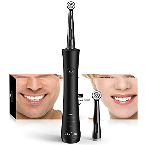 Rotary Electric Toothbrush for Adults, Rechargeable Toothbrush Teeth Whitening and Strong Battery Endurance, Powered Spin Toothbrush with 2 Round Heads, 3 Modes USB Toothbrushes in Black by Gloridea