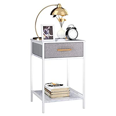 HOMFA Nightstand, 2-Tier End Table Side Table with Drawer, Shelf Dresser Storage Organizer and Open Shelf, Accent Table… - 【HIGH QUALITY MATERIAL】Combining sturdy metal frame with durable marble textured particle board for tabletop, this nightstand dresser is quiet robust, high-quality and has a long service life. Paired with simple lines and brilliant white, it creates a elegant, bold contrast for bedroom, living room and anywhere you place, giving your rooms an antique aesthetic and a lasting impression. 【STYLISH AND UNIQUE DESIGE】Equipped with a removable fabric drawer and a open shelf at the bottom, this unique nightstand perfect for bedside storage, keeping the cups, glasses and magazines at your hands. The fabric drawer create a personal space for your keys, journal and something important, can also as a storage for underwear, socks and other articles of daily use. Fill the open shelf with some green plants or eye-catching knick-knacks, it will definitely become a highlight of your home. 【SPACE SAVING AND MULTIFUNCTIONAL】This nightstand dresser provides enough space for storage of daily supplies while making full use of the limited space, free your life from messy and disorder. Perfectly for bedroom as nightstands, living room as end side sofa tables, entryway and some small space for special storage. - nightstands, bedroom-furniture, bedroom - 41qQoUfJ5mL. SS400  -