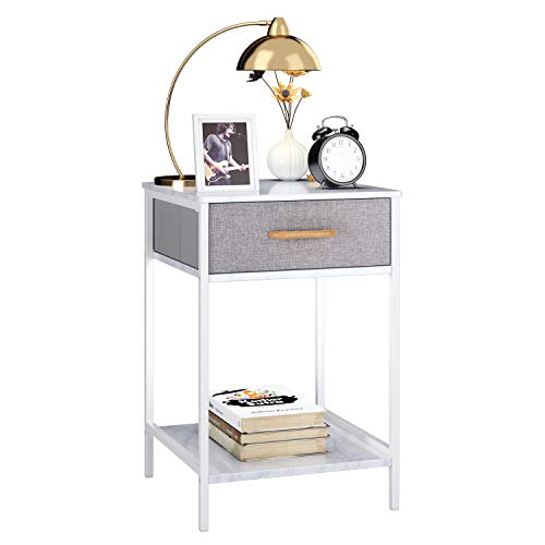 Marble Bedroom Furniture - Homfa Nightstand, 2-Tier End Table Side Table with Drawer, Shelf Dresser Storage Organizer and Open Shelf, Accent Table Modern Furniture in Bedroom Home