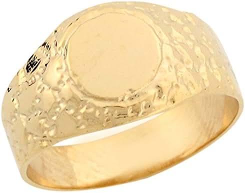 14k Real Yellow Gold Sleek Slender Nugget Style Ladies Signet Ring