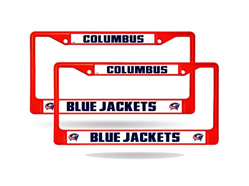 Rico Columbus Blue Jackets Red Painted Chrome Metal (2) License Plate Frame Set