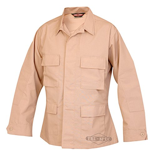 Tru-Spec 100% Cotton Ripstop BDU Jacket, Khaki, Extra Small, Regular Length 1550002 (Khaki Bdu Jacket)