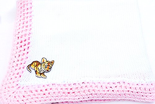 knitted-crochet-white-cotton-pink-trim-large-baby-blanket-with-tiger-cub