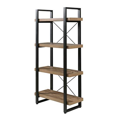 - OneSpace Bourbon Foundry 4-Tier Bookshelf, Wood and Black Steel