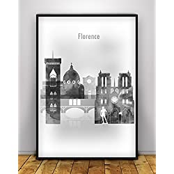 Florence Skyline, Florence Black and White Print, Florence Poster, Italy City Prints, Home Wall Decor, Florence CItyscape Decoration Poster