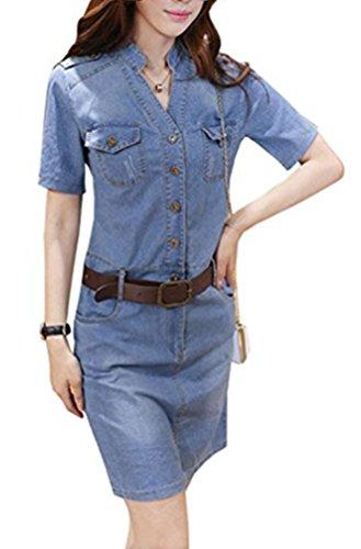 a3a3a8839ef Blansdi Damen Elegant Jeanskleid V-Ausschnitt Kurzarm Partykleid Bluse  Tunika Schlank Bodycon Denim Cocktailkleid Minikleid mit Gürte  Amazon.de   Bekleidung