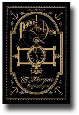 Panic at The Disco Poster - 11 x 17 Concert Promo for Too Weird to Live Too Rare to Die Tour Blk