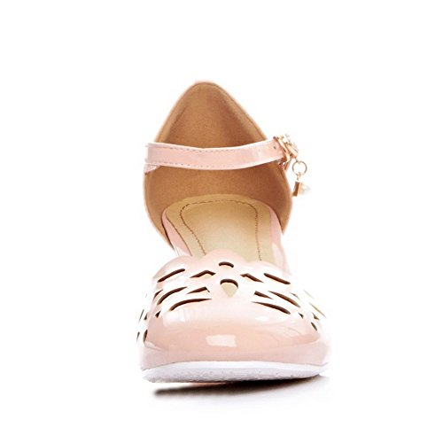 AllhqFashion Womens Cow Leather Solid Buckle Round Closed Toe Kitten Heels Sandals Pink dVTE89