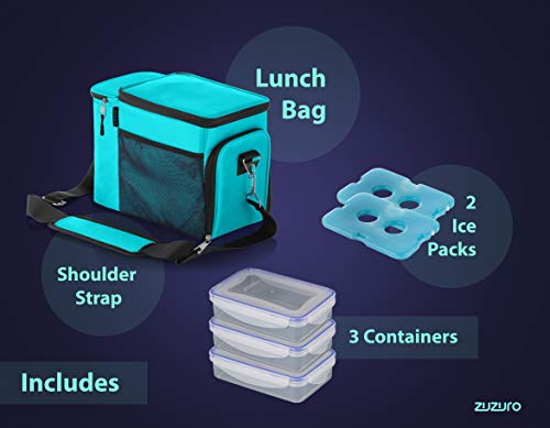 Zuzuro Lunch Bag Insulated Cooler Lunch Box w/ 3 Compartment - Heavy-Duty Fabric, Strong SBS Zippers - Includes 3 Meal Prep Lunch box Containers + 2 Ice Packs. For Men Women Adults (Turquoise) by Zuzuro (Image #1)