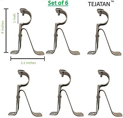 TEJATAN Curtain Rod Brackets - Silver (Set of 6 Brackets)(Also known as - Curtain rod Holder / Window Drapery rod bracket set for Draperies / adjustable curtain rod (Window Curtain Brackets)