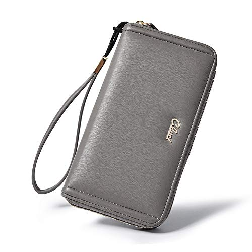 Wallets for women PU Leather Fashion Zip Around Wristlet Clutch Purse Ladies Credit Card Holder Organizer gray -