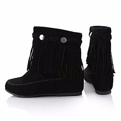 ZHUDJ Chaussures pour Femmes Bottes D'hiver Bottes Neige Automne Bout Rond Bottes/Boots Rivet Tassel pour Rouge Occasionnels Brun Noir,Black,Us6/Eu36/Uk4/Cn36