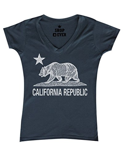 V-neck Womens California T-shirt (Shop4Ever California Republic Vintage White Bear Women's V-Neck T-shirt Cali Shirts X-Large Charcoal 0)