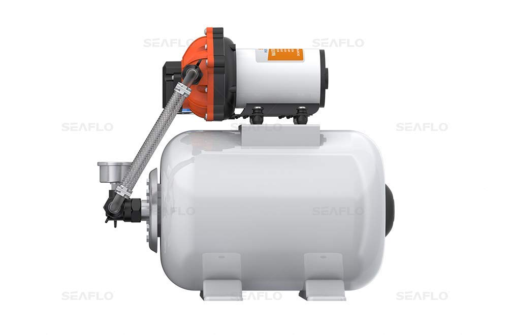 ALL NEW 55 Series SeaFlo Marine Water Pump 12 V DC 60 PSI 5.5 GPM 2 Gallon Accumulator Tank System with HEAVY DUTY PRESSURE SWITCH by SEAFLO