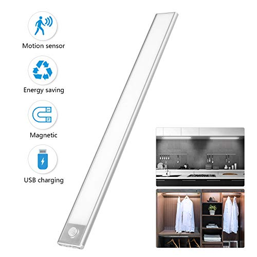 Ultra Thin Under Cabinet Lighting Wireless with 70 LED Bulbs- Motion Sensor Light for Kitchen Counter/Stairs/Hallway/Wardrobe/Closet Light, USB Rechargeable Magnet LED Lights Stick on Anywhere 16In