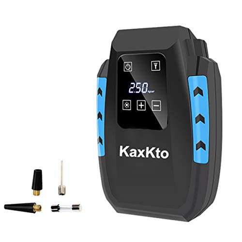 Kaxkto Portable Air Compressor Pump, Auto Tire Inflator and Mini Bike Pump with Digital Touch Screen Display with Long Cable For Cars, Basketballs, Bikes, Motorcycle, Other Inflatables (Air Mini Small Basketballs)