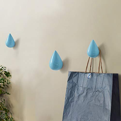 Color : Gold GzPuluz Gotas de Agua Creativas Ganchos de Pared Decoraci/ón for el hogar Mural de Resina Gancho de Abrigo 3D Ganchos Individuales Percha de Pared