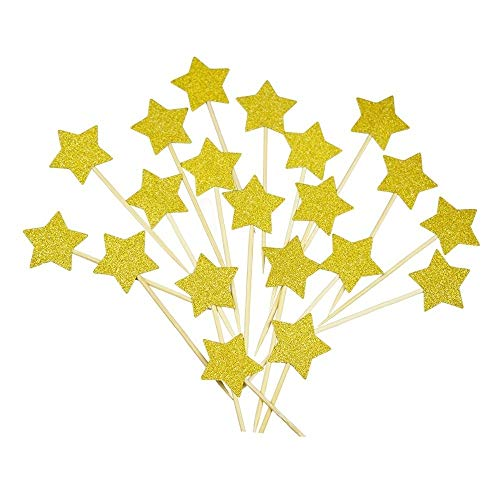 Cake Star Birthday (LaZimnInc Cupcake Toppers 50 Pcs, Glitter Gold Star for Decoration Birthday Party, Baby Shower and Wedding Party)