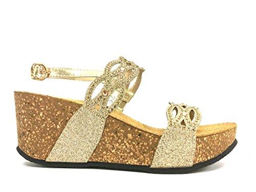 016219 PLATINO Scarpa donna Melluso sandalo zeppa pelle