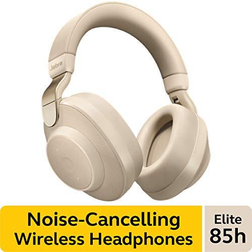 Jabra Elite 85h Wireless Noise-Canceling Headphones, Gold Beige – Over Ear Bluetooth Headphones Compatible with iPhone and Android – Built-in Microphone, Long Battery Life – Rain and Water Resistant