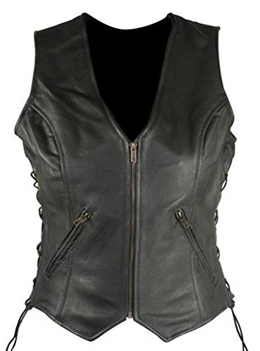 Xelement B277 Classic Womens Black Side Lace Cowhide Leather Motorcycle Vest - 3X-Large (Leather Motorcycle Vest 3x)
