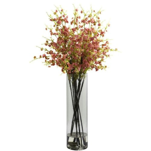 Nearly Natural Home Indoor Decorative Tabletop Fancy Giant Cherry Blossom Arrangement Pink by Nearly Natural