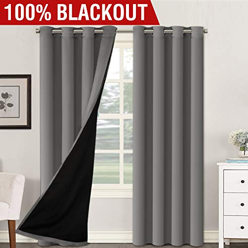 H.VERSAILTEX Thermal Insulated 100% Blackout Extra Long 108 Inches Curtains Noise Reducing Performance Grommet Drapes with Black Liner, Full Light Blocking Drapery Panels (Grey, 1 Pair, 52