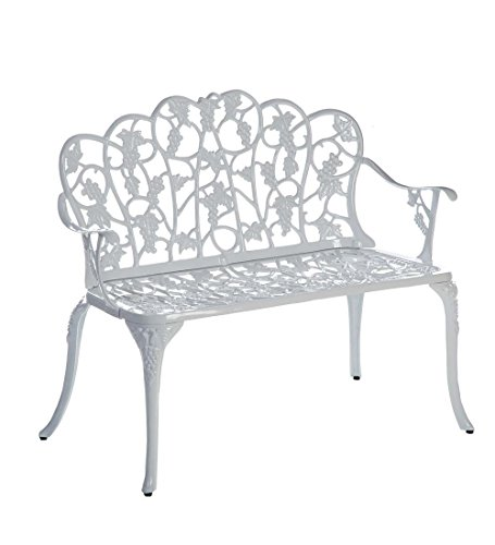 Plow & Hearth 34526-WH Grapevine Outdoor Garden Bench, White ()
