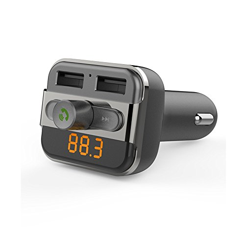 Mp3 Fm Transmitter Review - Wireless In-Car Bluetooth FM Transmitter Radio Adapter Car Kit with USB Car Charger by AZPEN