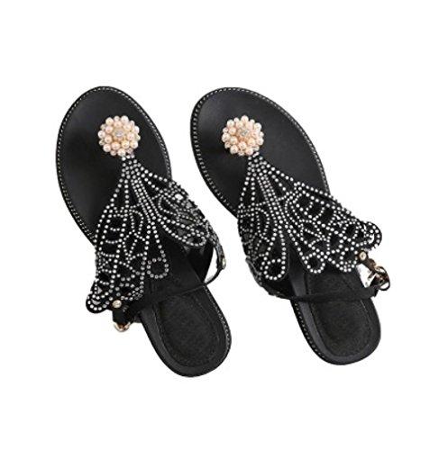 Aurora Keile Clip Toe Strass und Fairy Weibliche Clip Slip XIAOQI Rom Schuhe Stil Amerikanischen Europäischen Sandalen Schwarz Sommer xqtAwSwI