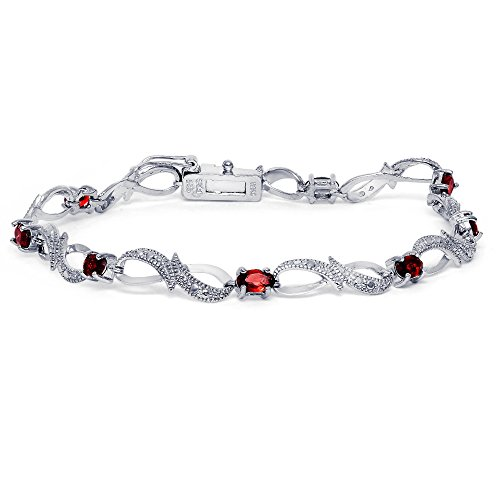 Sterling Silver Garnet Love Friendship Infinity Bracelet, (Greek National Costume Pictures)