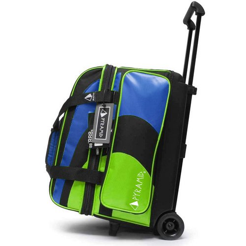 Pyramid Path Deluxe Double Roller Bowling Bag (Lime Green/Royal Blue)