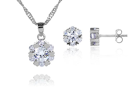 925 Sterling Silver Flower Pendant Necklace Round Stud Earrings Set for women and teen girls