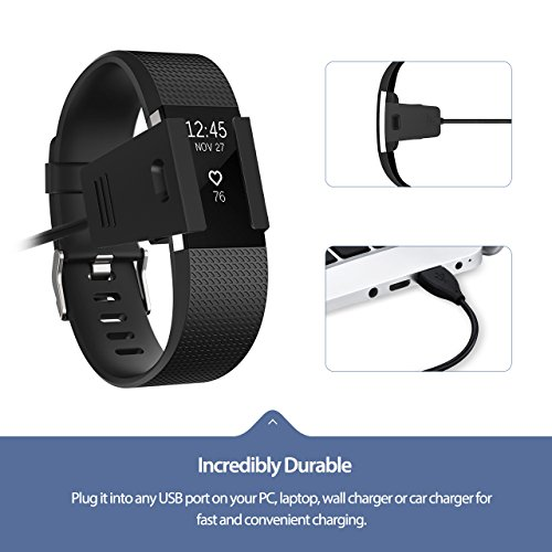 Cablor Fitbit Charge 2 Charger, Replacement USB Charger Charging Cable Cradle Dock Adapter for Fitbit Charge 2 Heart Rate Wristband