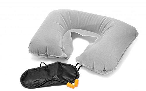 Okayji Inflatable Air Cushion Travel Neck Pillow With Eye Mask   2 Anti Noise Earplug