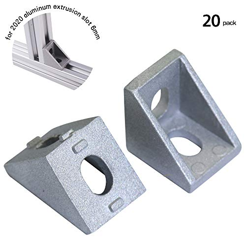 Boeray 20pcs 2 Hole Inside Corner Bracket Gusset for 2020 Series Aluminum Extrusion Profile with Slot 6mm