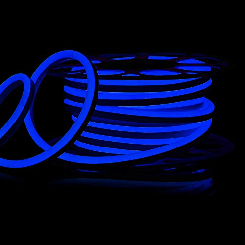 Tube Replacement Neon - Shine Decor 15x25mm LED Neon Lights, 110V Dimmable Flexible Waterproof Rope Lights, 2835 120LEDs/M, for Indoor Outdoor Commercial Lighting Decoration, Accessories Included, 50ft Blue
