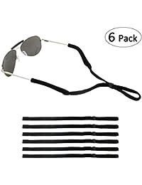 Adjustable Eyewear Retainer, Universal Fit Rope Eyewear Retainer, Sport Unisex Sunglass Retainer Holder Strap, Set of 6 (Black)