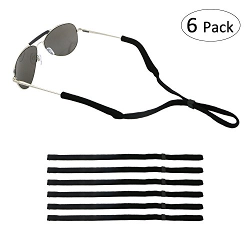 (ONME Adjustable Eyewear Retainer, Universal Fit Rope Eyewear Retainer, Sport Unisex Sunglass Retainer Holder Strap, Set of 6 (Black))