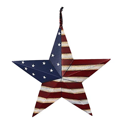 Rainbow Handcrafts Rustic Metal 3D Barn Star Patriotic Wall Decor American Flag Wall Star July 4th Country Americana Patriotic Wall Ornament,Outdoor - Star Flag Patriotic